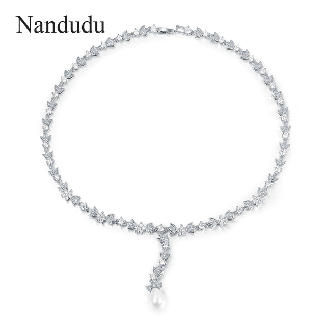 Nandudu Deluxe Austrian Crystal Necklace White Gold Plated Bridal Pearl Teardrop Pendant Necklaces Jewelry Gift CN213