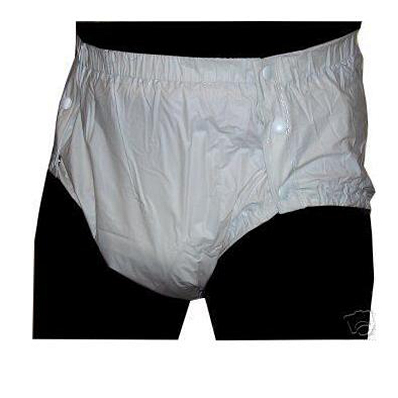 Free Shipping FUUBUU2203-White-M-1PCS Adult Plastic Non Pants For Babies Diapers Adult Cloth Diaper Cover Pvc Shorts
