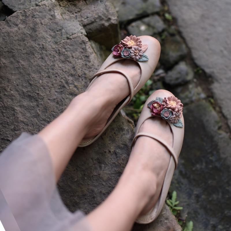 Blumen 188 pink green Echtem Retro Frauen Flache Original Außerhalb Sommer Stil Neue Leder Tragen Handgemachte Artmu Süße Hausschuhe Apricot Gray 12 qUHxtZnwI