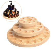 59 Three Tier Slots Storage Box Essential Oil Storage Box Circle Wooden Case Aromatherapy Wooden Box 27x13.5cm