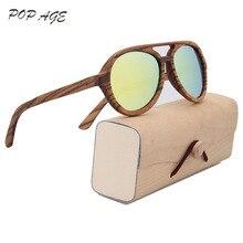 POP AGE Sunglasses Men Yellow Mirror Polaroid Wood Glasses for Driving Classic Retro Polarized Sunglasses Men Brand Aviador