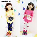 Girls Clothing Sets 2017 Autumn Winter Fashion Cartoon Kitten Printed T-Shirts + Legging 2Pcs Girls Clothes Sets