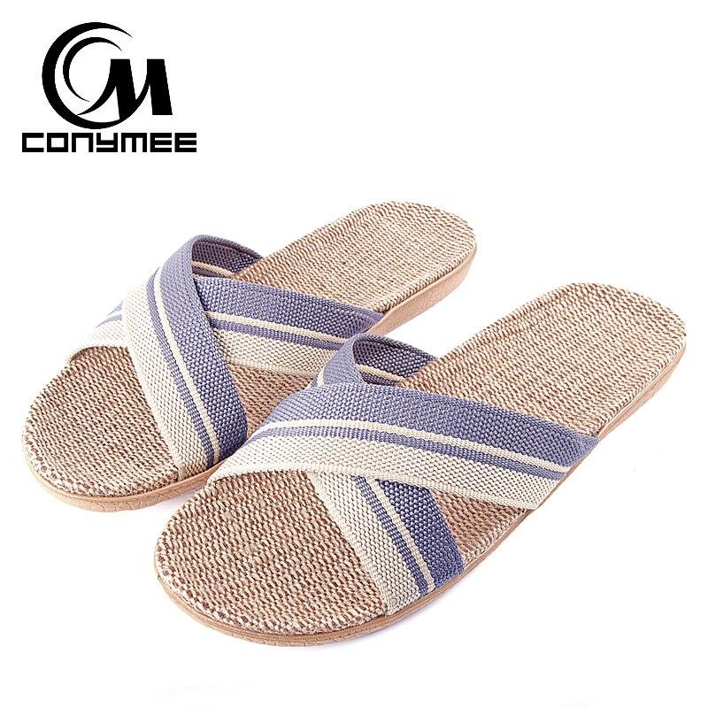 CONYMEE Men Home Slippers Summer Beach Shoes 2018 Male Flax Sandals Casual Sneakers For Indoor Floor Cross Belt Linen Flip Flops