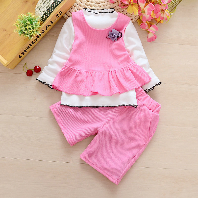 Bibicola Baby Girls Clothing Set Spring Toddler Fashion Clothes Bebe Solid 3pcs Baby Girls Clothes Set Kids Suit Tracksuit Set