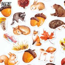 AAGU 46PCS/Pack Box Package Cute Animal Squirrel Pattern Paper Decorative Sticker Scrapbooking Bullet Journal Stationery Sticker