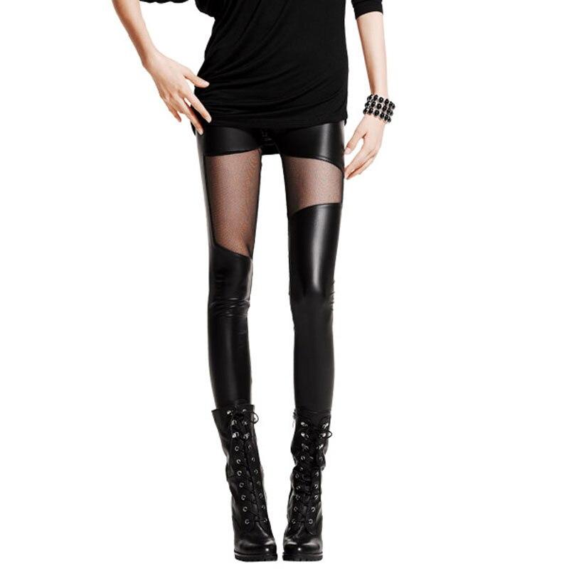 NDUCJSI 2020 Summer Women Sexy Club Slim Mid Waist Leggings Mesh Gothic Leather Legging Female Patchwork Stretch Black Leggings