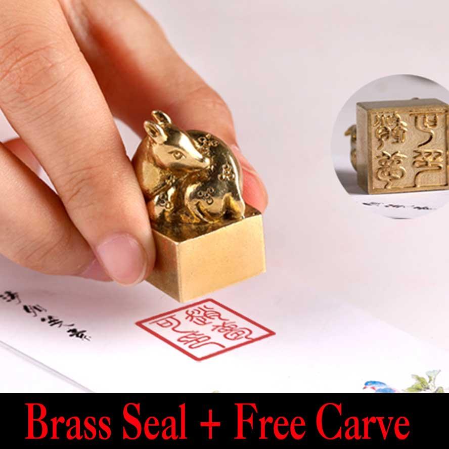 Sceau de timbre archaistique chine antique sceau carré en laiton forme de cerf Art peinture calligraphie fournitures ensemble