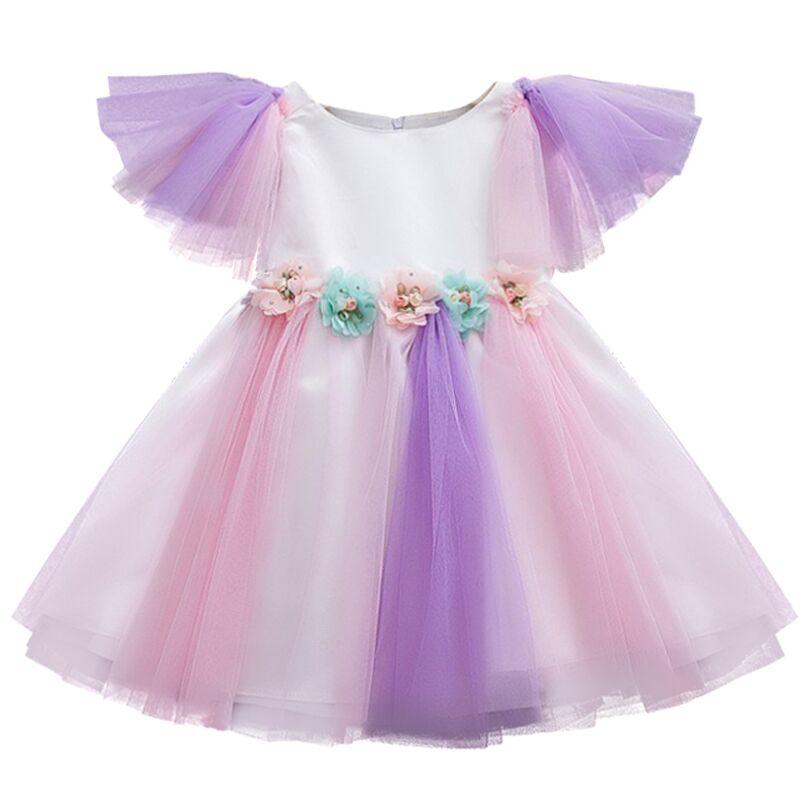 Fairy Summer Colorful Dress Girl Toddler Princess First Birthday Infant Baby Girls Holiday Party Tutu vestido infantil Sundress