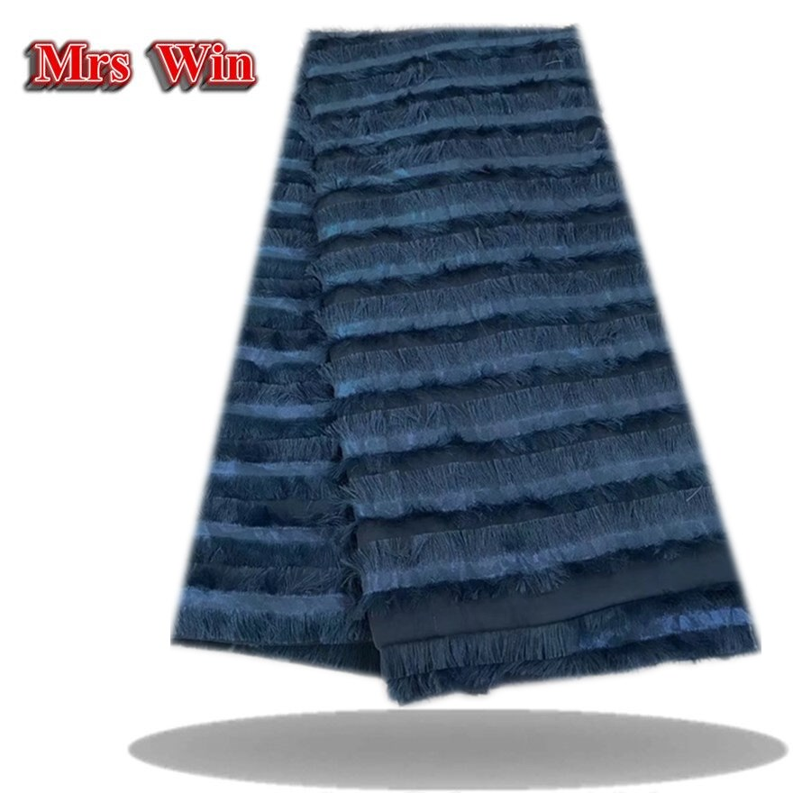Wonderful tassels lace fabrics Chiffon hot stamping handout Nigerian latest lace cloth for making dress or woman garment cloth