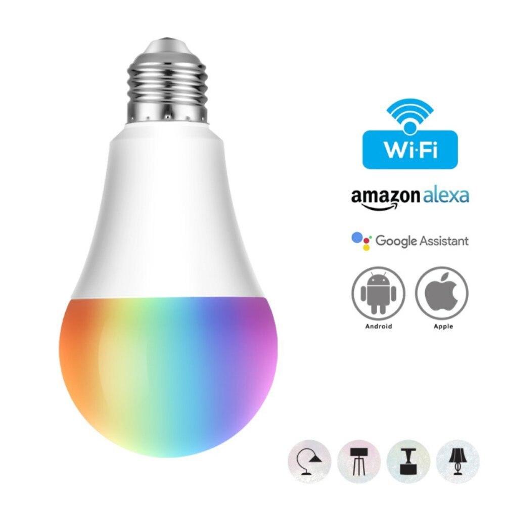 E27 Wi-fi Inteligente Lâmpada LED RGB Lâmpada 11 W Regulável Multicolor Lâmpada de Controle de Voz Compatível com Alexa e Google assistente