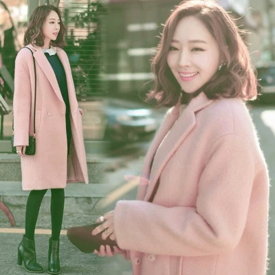2017 autumn and winter new Korean version of the long paragraph pink woolen coat jenni new pink solid ruffled chemise l $39 5 dbfl