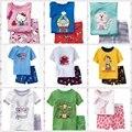 2015 2 unidades sets muchachos de las muchachas 100% algodón Hello Kitty pijamas del bebé niños Despicable Me manga corta top + pantalones minnie pijama