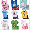 2015 2pieces sets girls boys 100% cotton Hello Kitty baby pajamas kids Despicable Me short-sleeved top+pants minnie pajama