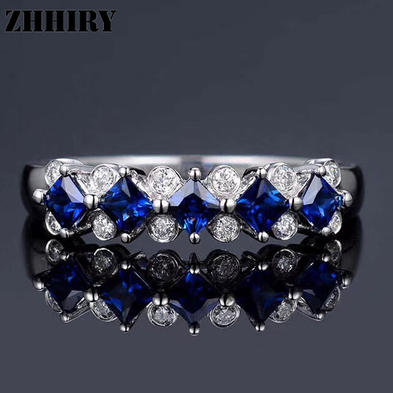 ZHHIRY Natural Sapphire Ring Blue Gemstone Genuine Solid 925 Sterling Silver For Woman Fine Jewelry