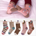 5 Pairs Pack 2016 Spring and autumn cotton children socks vintage dot stripe small female male kids boys girls socks