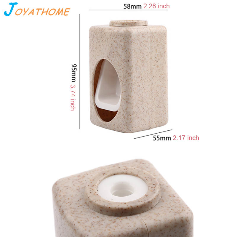 Joyathome Suction Cup Type Wheat Straw Material Automatic Toothpaste Dispenser Toothbrush Holder Set Toothbrush Holder in Toothpaste Squeezers from Home Garden