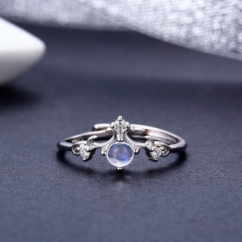 Vintage 925 Sterling Argent Rond 7A Naturel Moonstone bagues pour femmes De Mariage de Fiançailles Bijoux Doigt Anillos Bague Anéis