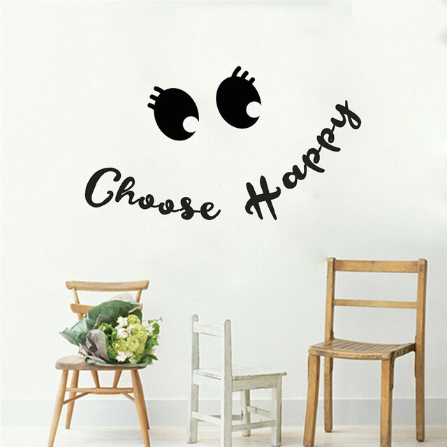 Choose Happy Quotes Wall Stickers Funny Face Decals Art Design Mural