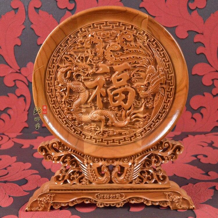 China dom de negócios estrangeiros casa sala de estar escritório Talismã FU Auspicioso FENG SHUI Lucky Dragon Phoenix escultura em Madeira Ornamento