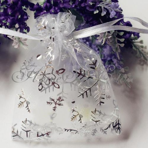 100x Christmas Snowflaker Organza Pouch Bag Drawstring Tie Wedding Favour Gift, snow wedding theme
