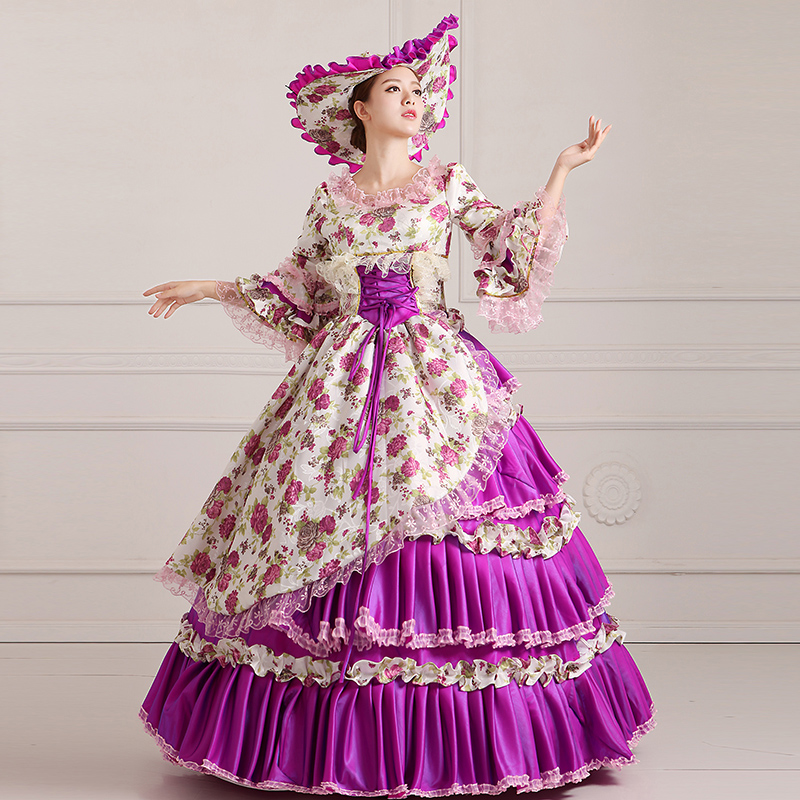 Free Shipping 1800s Victorian Dance Dress Gothic Victorian