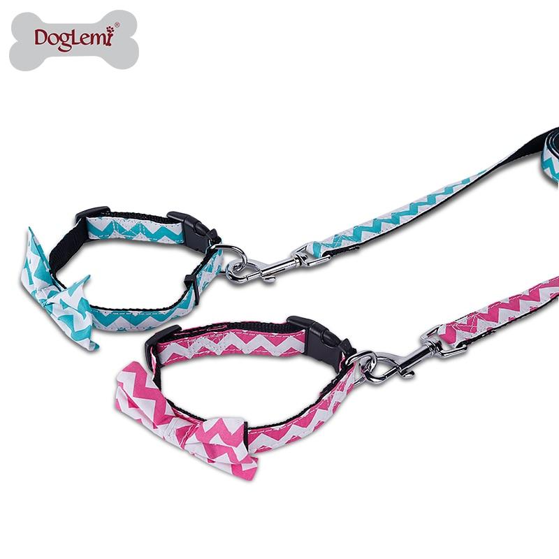 Doglemi Lindo Conjunto de Rayas Bowknot Collares de Perro con Correas Para Perro