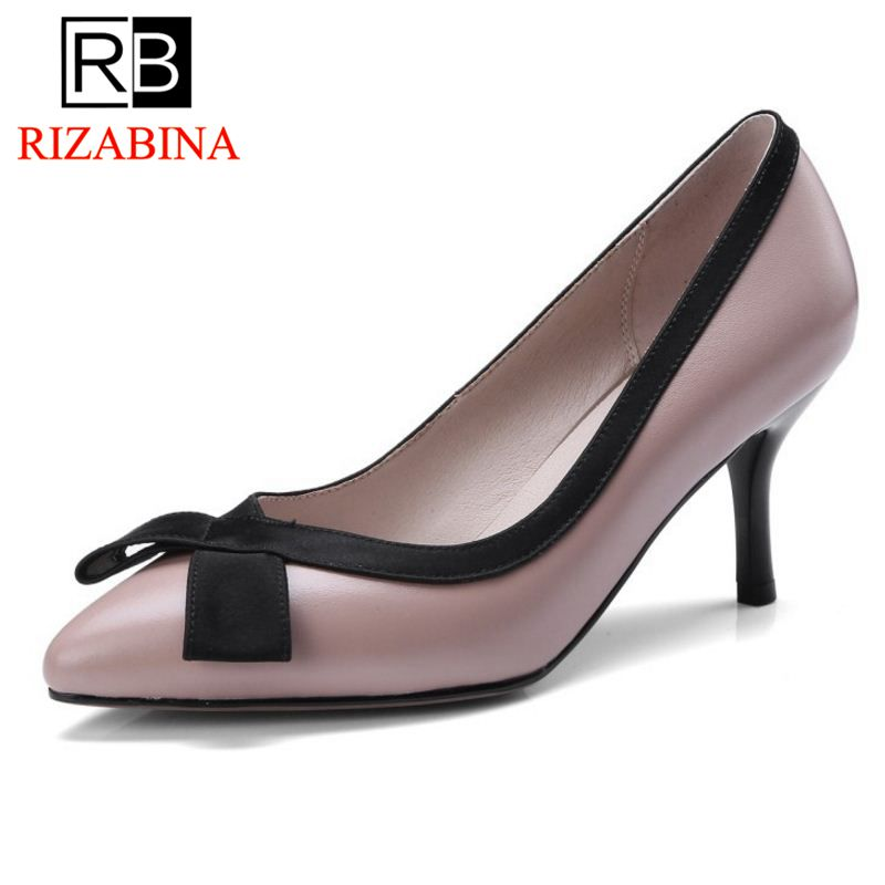 RizaBina Office Lady Real Leather High Heel Shoes Women Bowtie Pointed Toe Thin Heel Pumps Party Club Women Shoes Size 33-40 suru slingback pumps women real leather 8cm high heels party shoes pointed toe back trip sandals exegang office lady shoes black