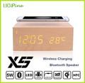 Деревянный Ци Беспроводное Зарядное Устройство-Передатчик мат pad + Bluetooth Динамик + Будильник для Samsung S6 S6Edge S7 S76Edge Плюс Note5