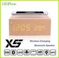 Madeira Qi Carregador Sem Fio Transmissor mat pad + Bluetooth Speaker + alarm clock para samsung s6 s6edge s7 s76edge plus Note5