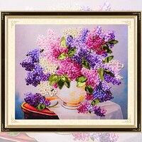 DIY Cintas Bordado florero Hortensia decorativos pinturas artesanía Cruz puntada kit Sala decoración c-0279