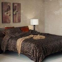 3d leopar baskı yatak setleri 4 parça mısır pamuk saten ikiz nevresim kraliçe boyutu çarşaf ücretsiz kargo