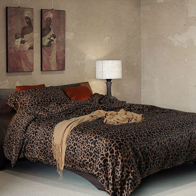 3d Leopard Print Bedding Sets 4 Piece Egyptian Cotton Satin Twin Duvet  Cover Queen Size Bed