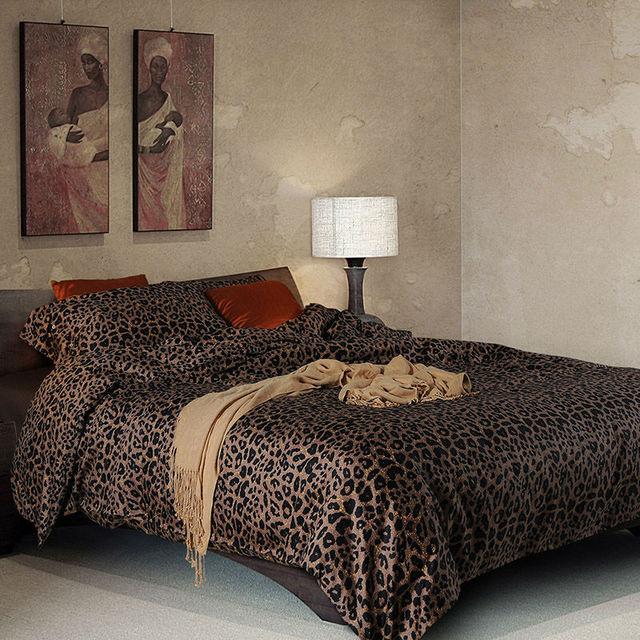 Beau 3d Leopard Print Bedding Sets 4 Piece Egyptian Cotton Satin Twin Duvet  Cover Queen Size Bed
