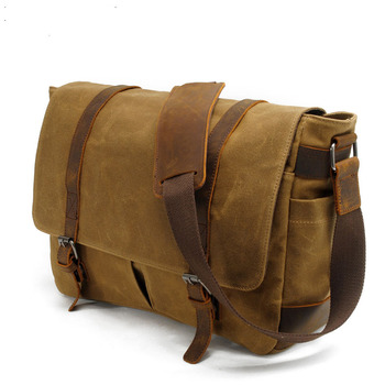 LIHONGBAOBAO Waterproof Canvas Men Messenger Bags Vintage Handbags Travel Shoulder Bags 14 Inch Laptop Briefcase Crossbody