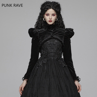 PUNK RAVE Women Gothic Lolita Bubble Sleeve Short Jacket Velvet Elastic Knitted Victorian Evening Party Stage Performance Coats