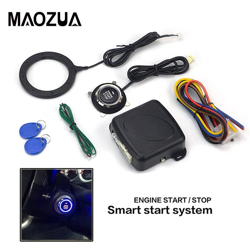 12V Auto Mobil Alarm Satu Mulai Tombol Stop Engine Push Tombol RFID Kunci Pengapian Switch Tanpa Kunci Masuk Starter Antitheft sistem