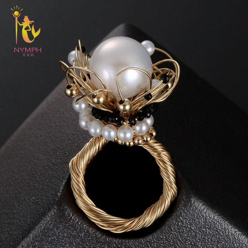 NYMPH Freshwater Pearl Ring Fine Jewelry Big Rings For Women Near Round White Pearl Ring 2018 Birthday Gift J317 on near la rings