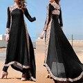Новый 2017 Сексуальные Wmen Boho Партии Dress Старинные Кружева Крючком весна Нерегулярные Большой Подол Пляж Макси Долго Плюс Размер Dress Vestidos