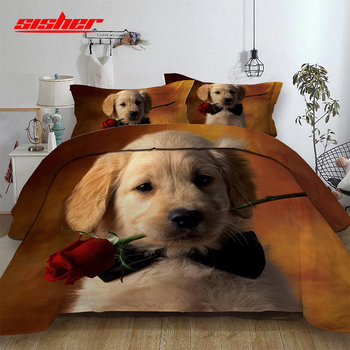 Sisher 3D Animal Dog Cat Bedding Set for Kids Cute Printed Duvet Cover Set Queen Single Double King Size Quilt Covers Bedclothes фото
