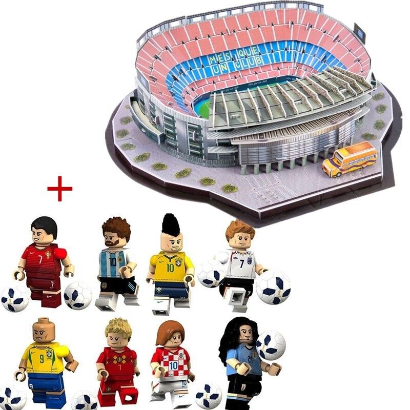 Caliente nuevo DIY rompecabezas de fútbol Camp Nou juego estadios de construcción de ladrillo juguetes modelos a escala de edificio de papel