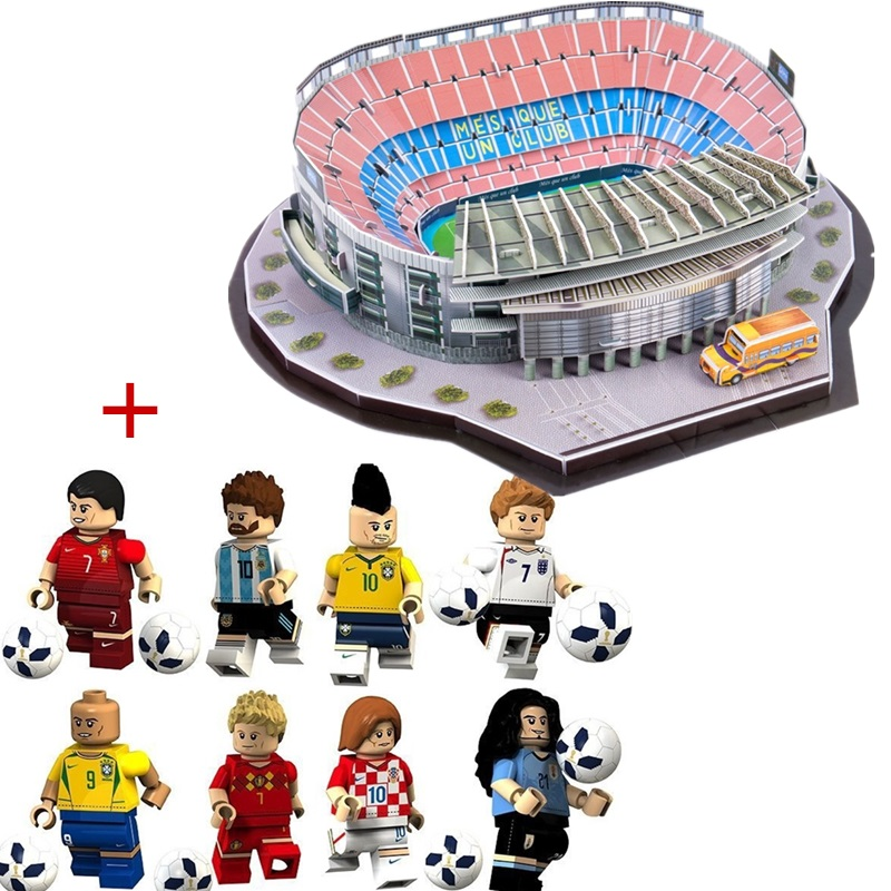 HOT NEW DIY Puzzle Architecture Camp Nou Football Game Stadiums Construction Brick Toys Scale Models Sets Building Paper