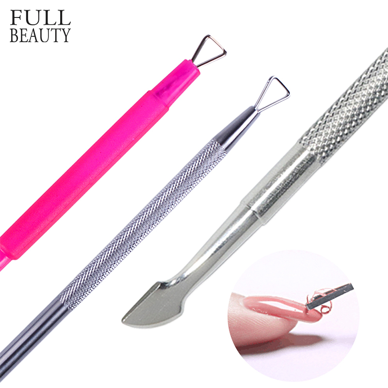 1pcs Optional Remover Polish UV Gel Manicure Nail Tool Stainless Steel Triangle Stick Rods Cuticle Clean Remover Wet Paper CH657