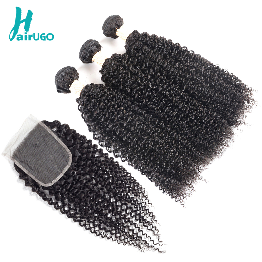 HairYou Hair Pre-Colored Kinky Curly 3 Bundles With Closure Human - Mänskligt hår (svart)