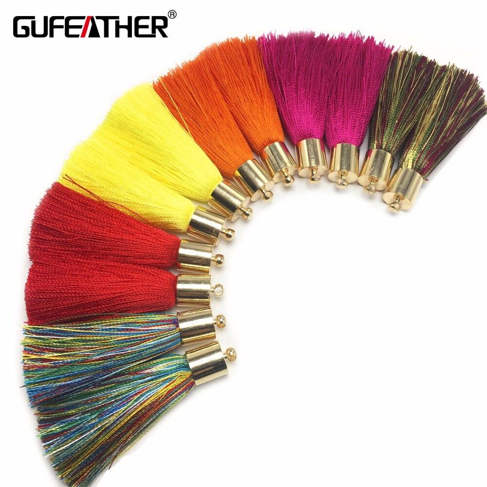 где купить GUFEATHER L93/5cm Silk Tassel/Golden hat silk tassel/jewelry accessories/accessories diy/jewelry findings/diy earings/4pcs/bag дешево