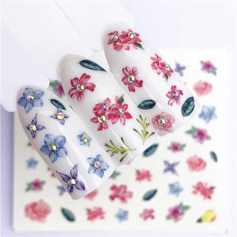 1 Pcs Flowers Plants Nail Stickers Water Decal Fruit Christmas Cat Pattern 3D Manicure Sticker DIY Fashion Nail Art Decoration