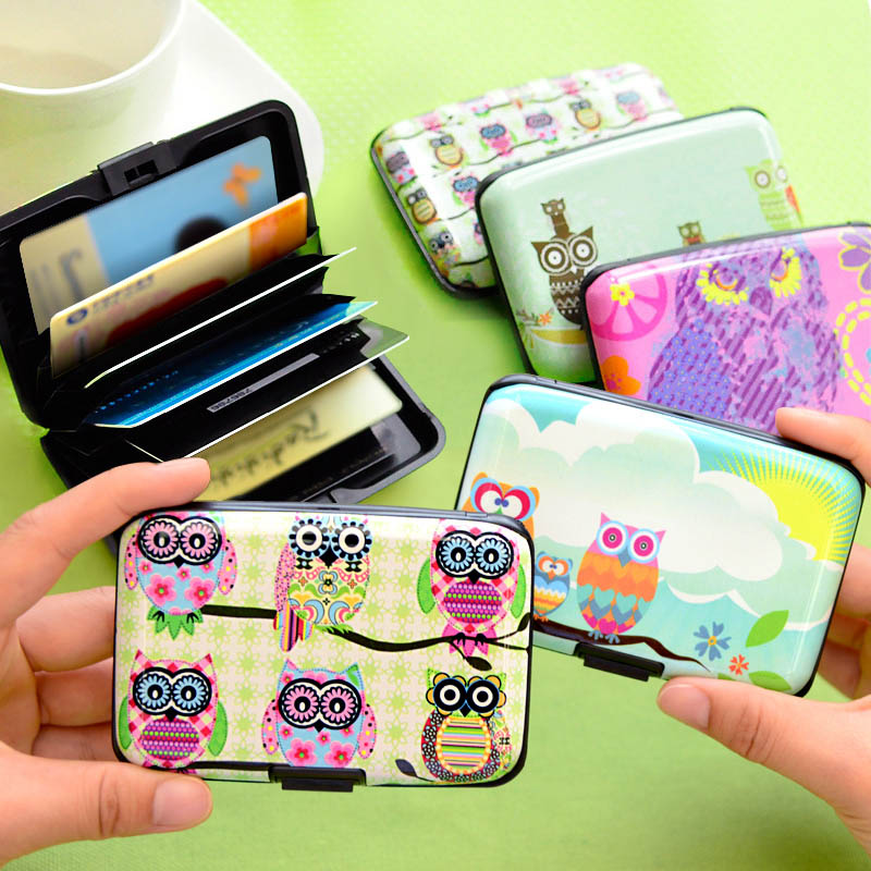 2017 Cute Owl Printed Wallet Case Credit Card Holder 7 Cards Slots Theft Proof with Extra Security Layers Carteira Feminina nahoo hospital nurse name badge tag holder leather badge holder credit id reel card holder neck bus cards case office supplies