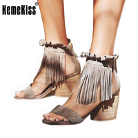 Women Real Genuine Leather Ankle Wrap High Heel Sandals Brand Summer Fashion Footwear Tassel Heeled Shoes