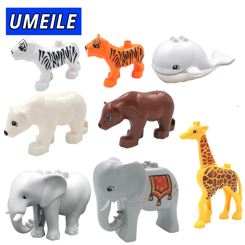 UMEILE Brand Animal Building Block Diy Zoo Set Brick Whale Giraffe Elephant Baby Toys Compatible With Duplo Gift
