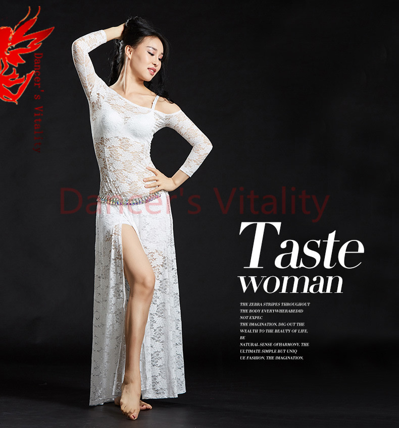 Lady Belly Dancing Clothes Sexy Lace Long Sleeves Belly Dance Dress For Women Belly Dance Exercise Dress Dancer's Dress Clothing