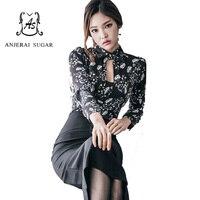Otoño Invierno mujeres Vestido 2 unidades traje imprimir flor camisa negro de alta cintura paquete hip botón bodycon Corea vestido sexy